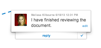 Comment bar for reviewing documents