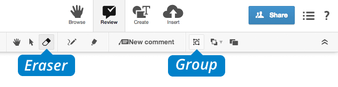 conceptboard review tab eraser and group icons