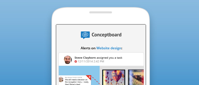 Conceptboard visual alert notifications on a cell phone