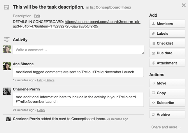 Adding additional comments from Conceptboard to the Trello card