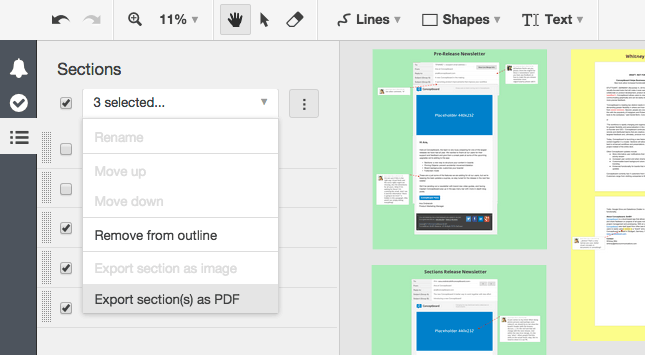 Conceptboard custom export multiple sections