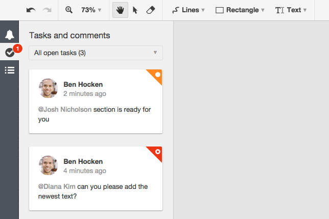 Conceptboard new tasks and comments panel filtered by open tasks