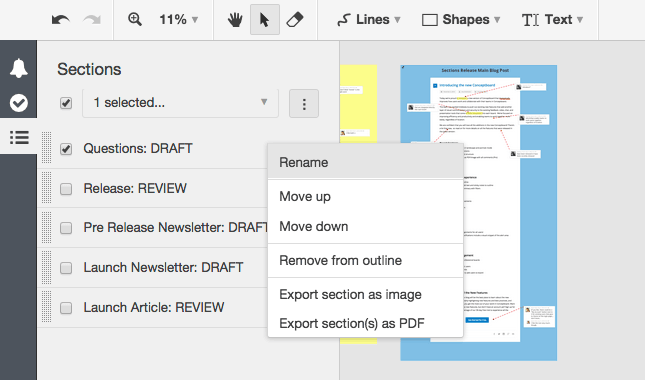 Conceptboard rename a section