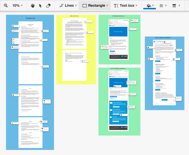 Conceptboard visual areas used with Trello