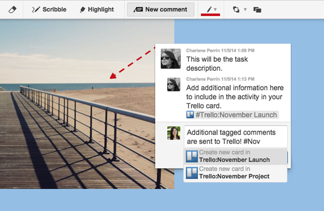 Conceptboard marking comments as Trello tasks