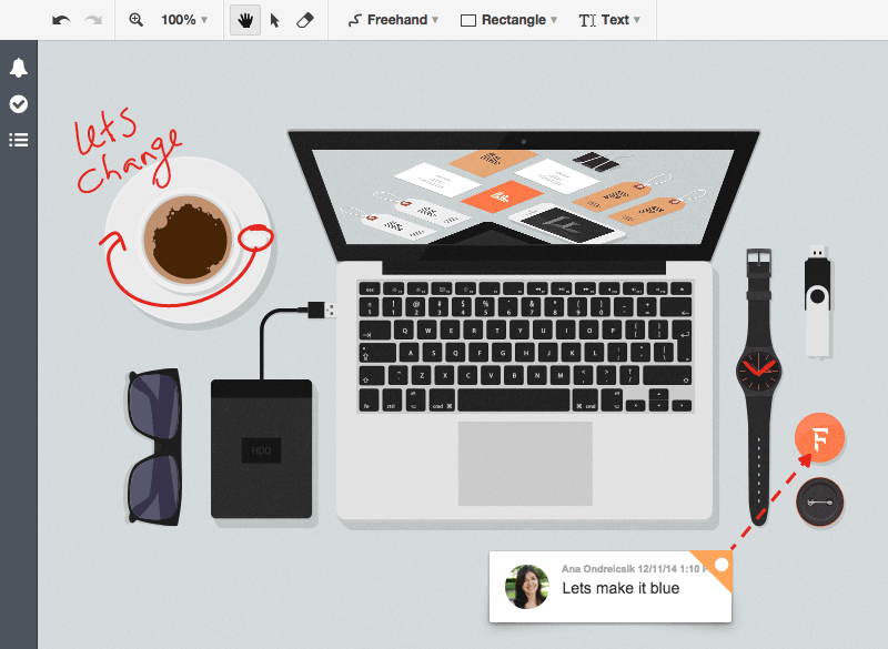 Scribbling and markup changes directly on visual content