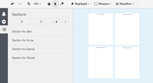 Creating sections for each teammember in Conceptboard