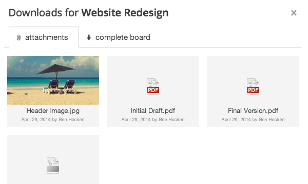 Files added to a board can be downloaded again by any board participant.