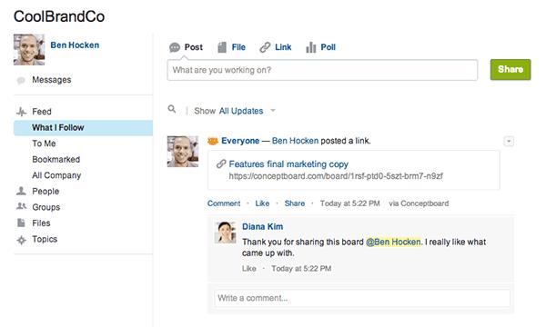 Mit unserer Salesforce Chatter Integration können Sie ein Board mit Gruppen auf Salesforce Chatter teilen.