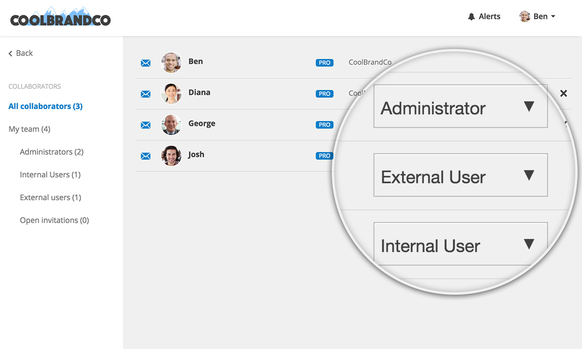 Conceptboard User Roles in Teams set as Internal or External User