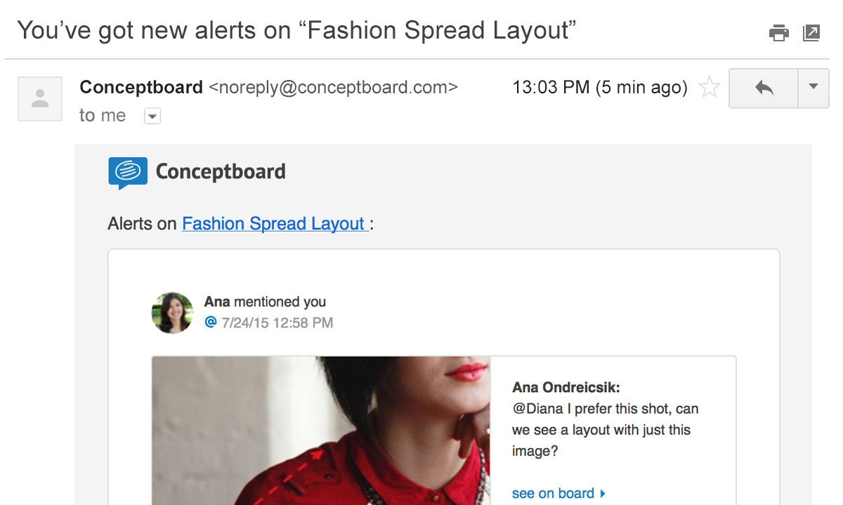 project management conceptboard email notification a visual preview of mention and task assignment