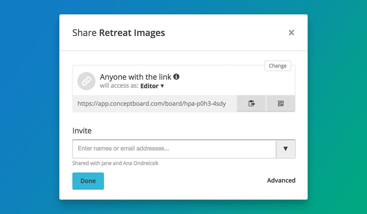 Link sharing in Conceptboard