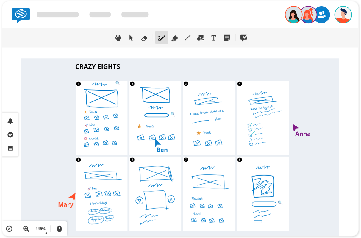Crazy eights UX design