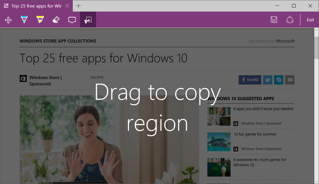 Capturing entire pages in Microsoft Edge