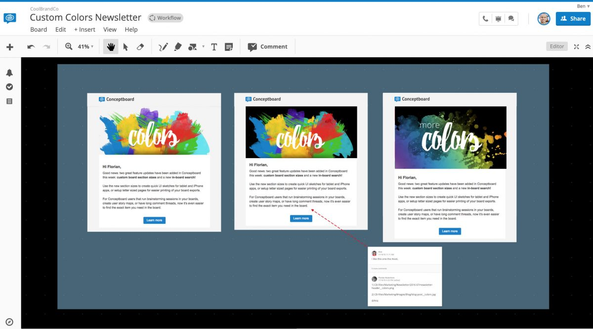 Conceptboard Custom Colors Newsletter