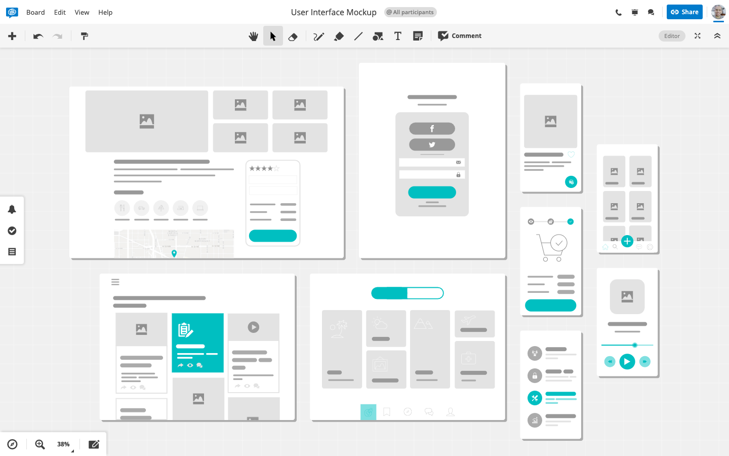 Conceptboard User Interface Mockup
