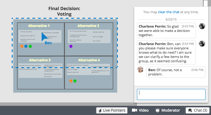 Integrated board chat for decision making in the board in Conceptboard