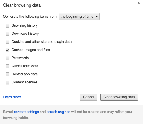 clearing google cache