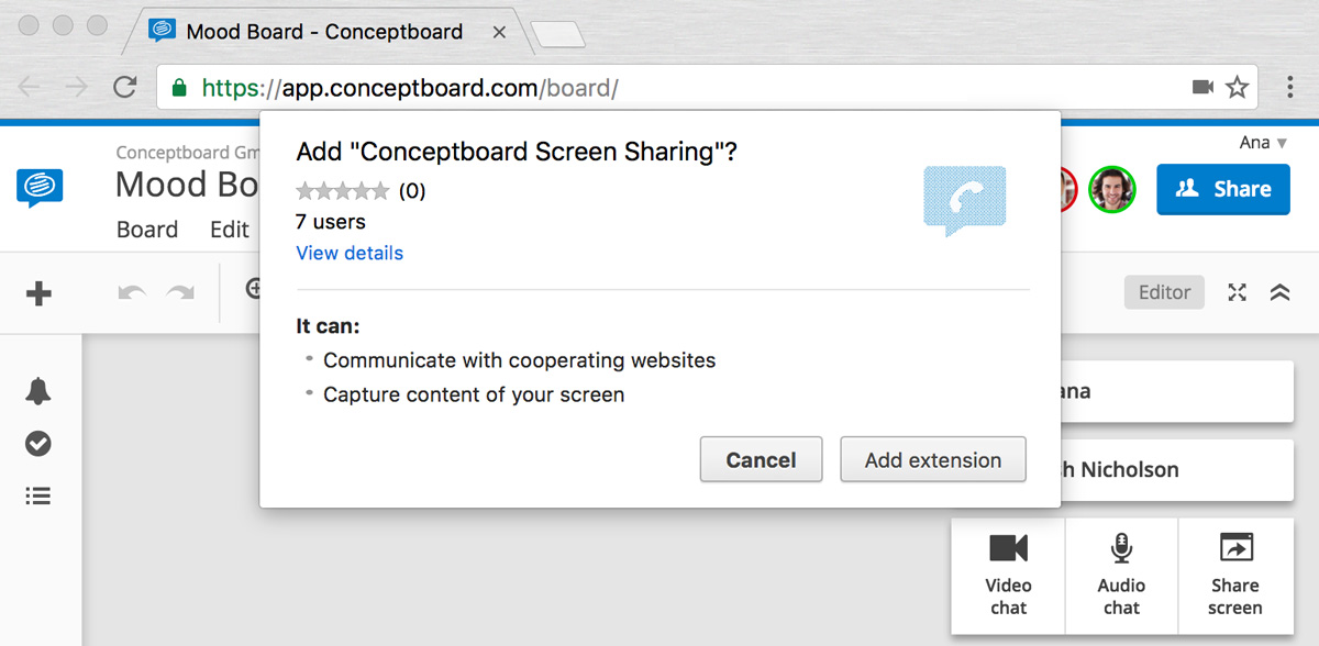 conceptboard chrome extension new screen sharing in online whiteboards