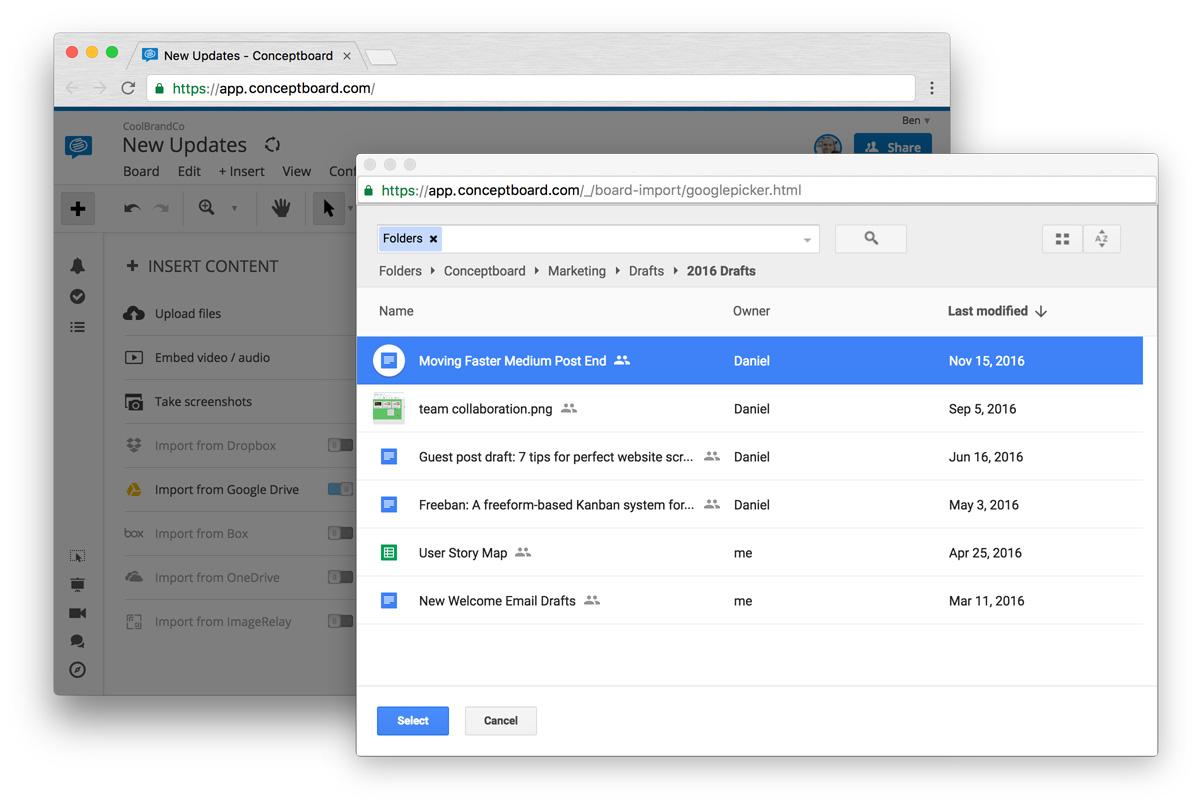 Conceptboard Google Drive Integration Google Picker