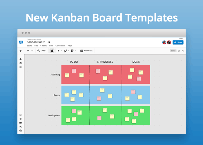 Kanban Board Example in Conceptboard for Agile Project Management