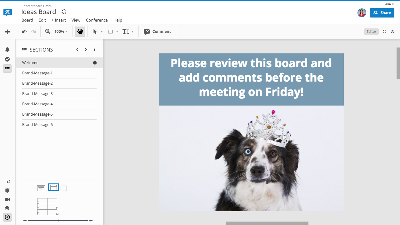 Conceptboard welcome screen for online whiteboards funny