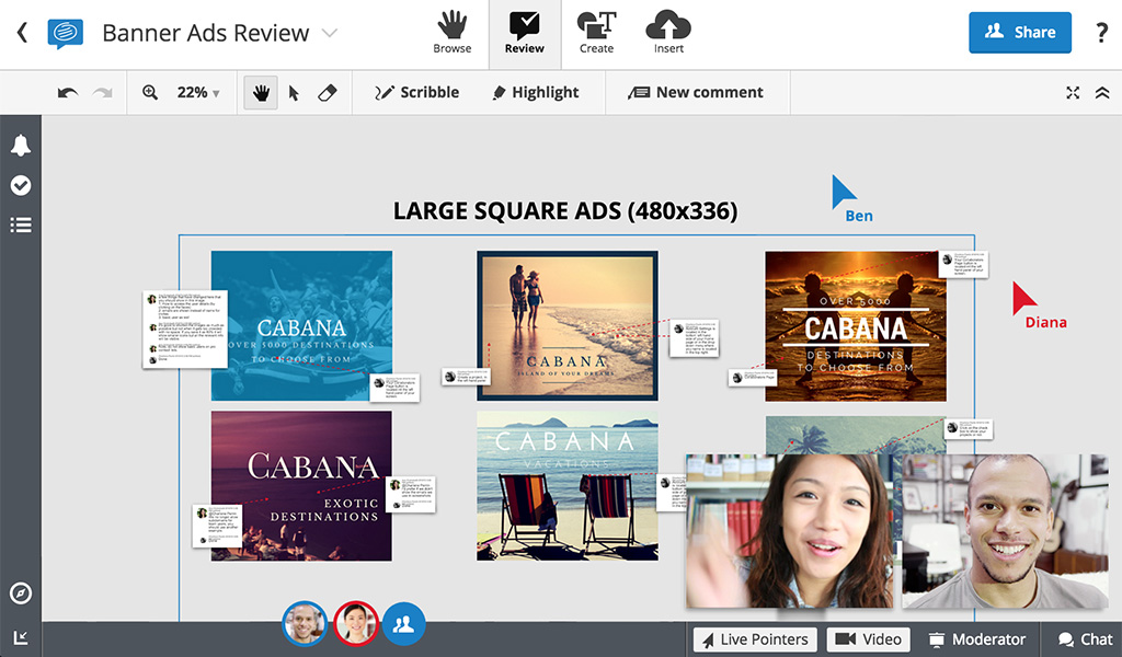Real-time collaboration in Conceptboard: Reviewing and marking up banner ads in the board.
