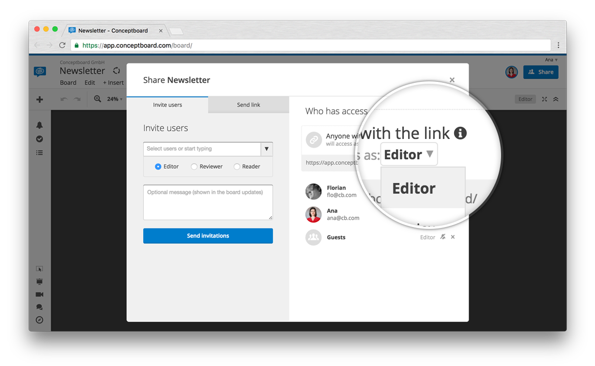 conceptboard share editors guests board