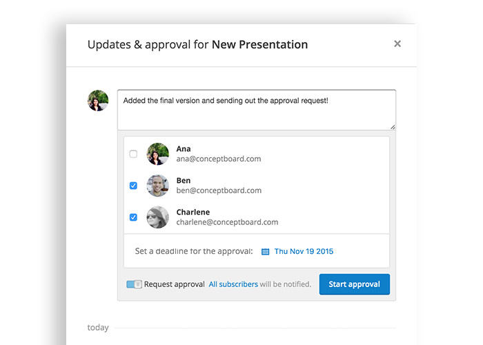 Conceptboard approval process with multiple users