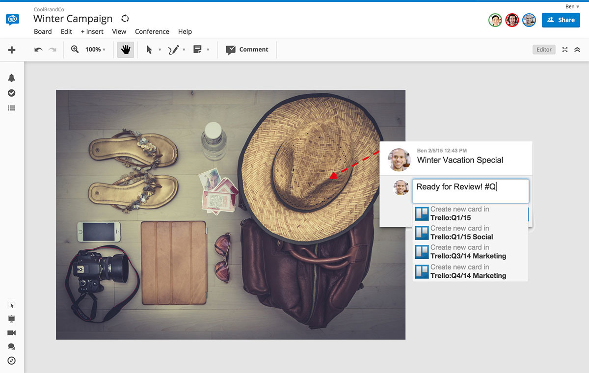 Add tasks you create on a board in Conceptboard to a card in Trello.