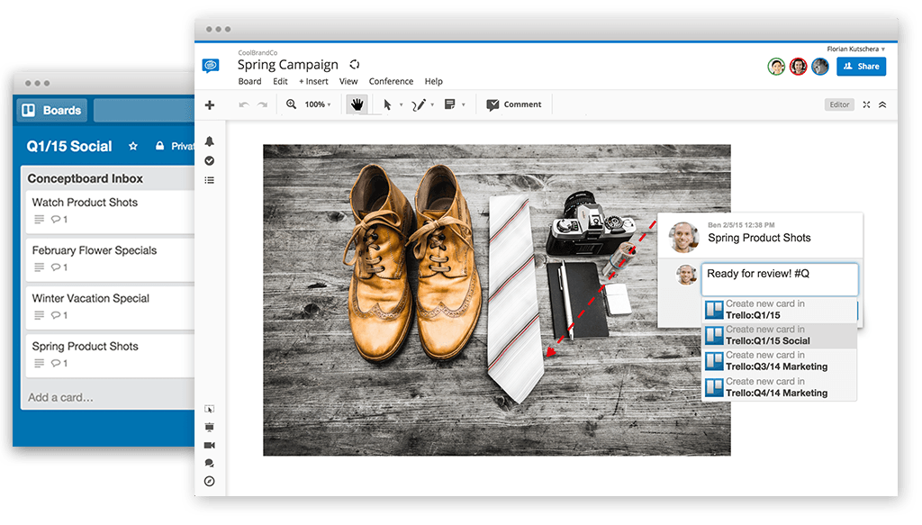 Keep your Conceptboard content,  discussions, and feedback linked to Trello.