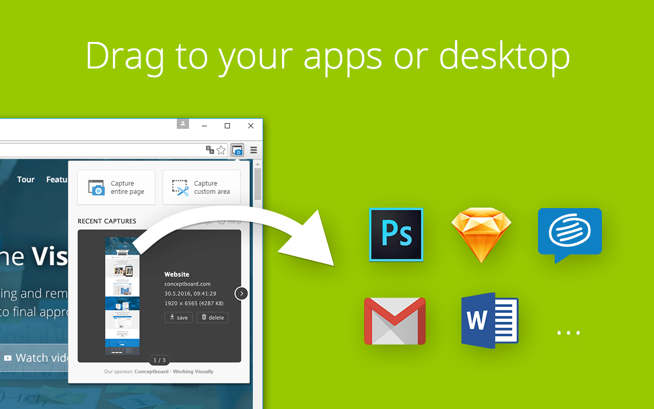 Drag in your favorite apps like Conceptboard, Photoshop, Gmail, Sketch, Trello, Slack