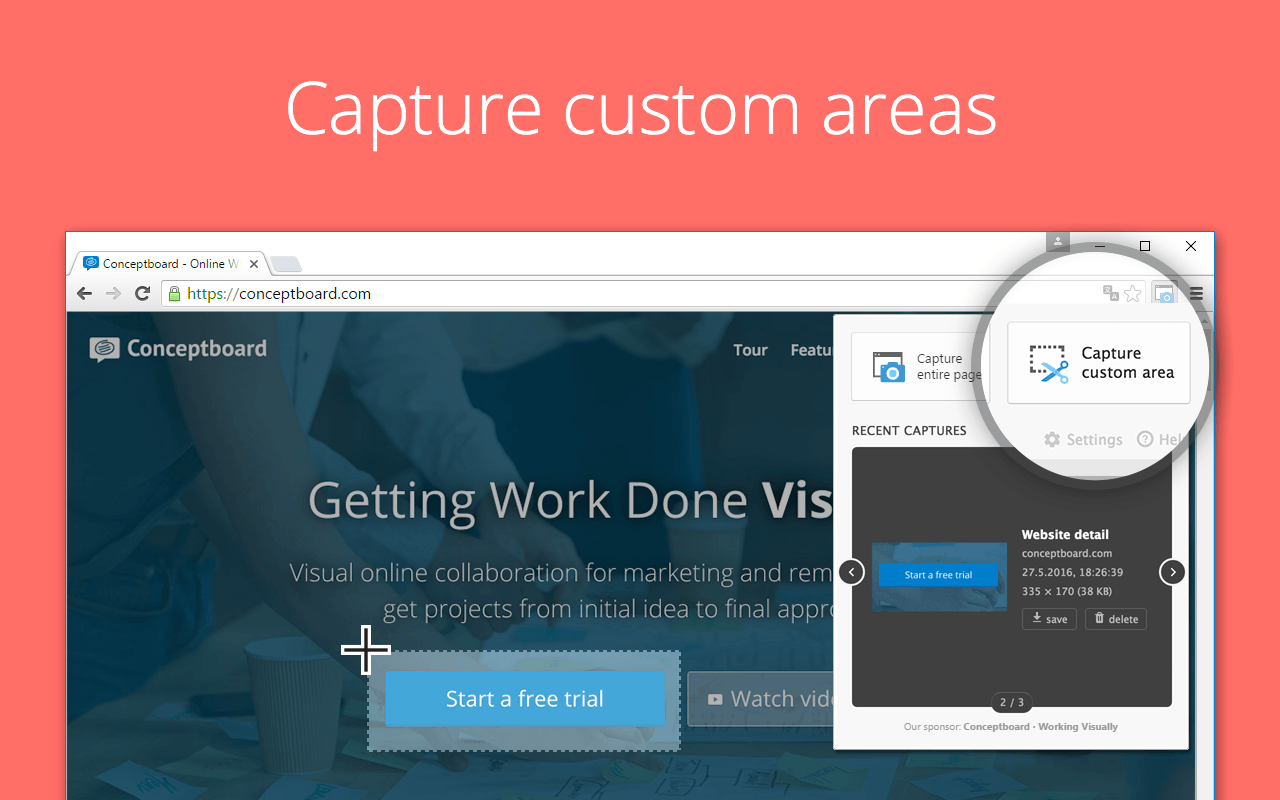 capture custom areas of a webpage