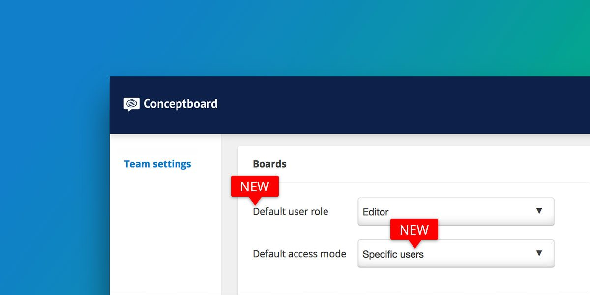 New default board settings
