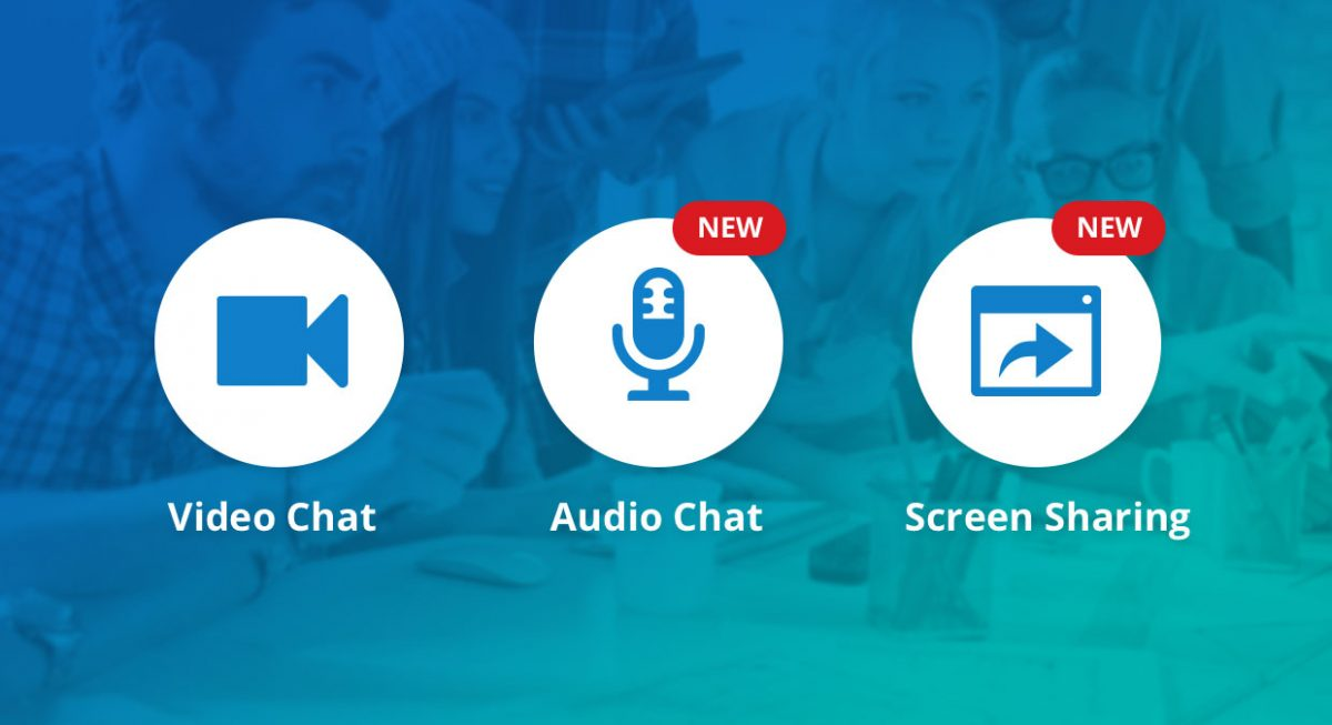 Video chat, Audio chat, Screen Sharing