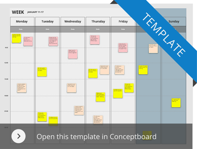 Weekly template in Conceptboard